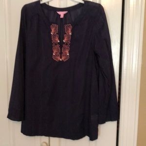 Lilly Pulitzer Thandie Tunic. Navy. Size Large